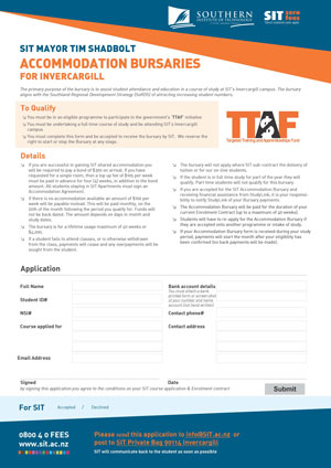 TTAF Accommodation Bursary Form