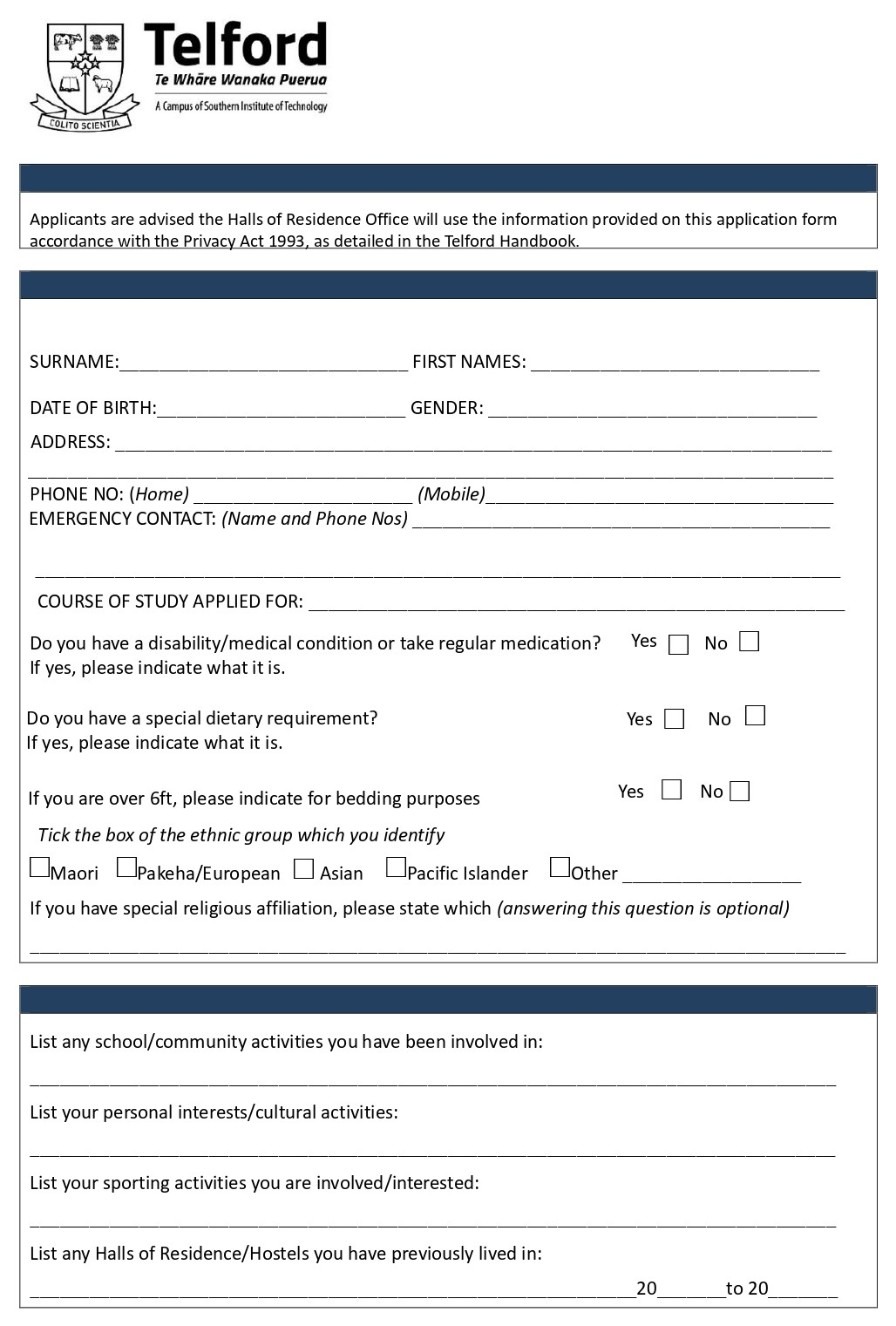 Telford Accommodation Application